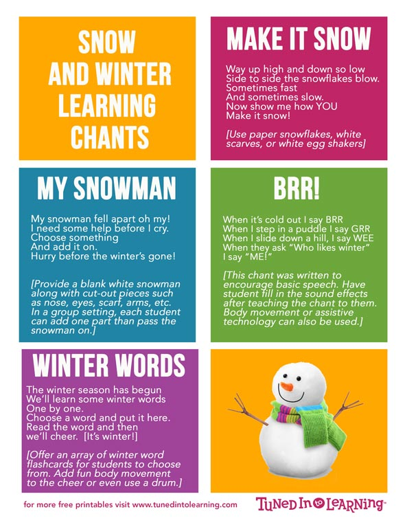 Music Therapy Winter and Snow Themed Chants PDF | Tuned in to Learning - Music for Special Education